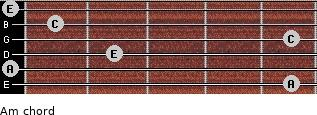 Am for guitar on frets 5, 0, 2, 5, 1, 0