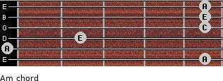 Am for guitar on frets 5, 0, 2, 5, 5, 5