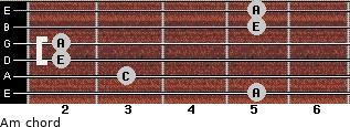 Am for guitar on frets 5, 3, 2, 2, 5, 5