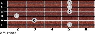 Am for guitar on frets 5, 3, 2, 5, 5, 5