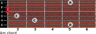 Am for guitar on frets 5, 3, 2, x, x, 5
