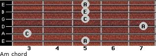 Am for guitar on frets 5, 3, 7, 5, 5, 5