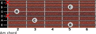 Am for guitar on frets 5, 3, x, 2, 5, x