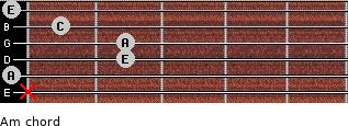 Am for guitar on frets x, 0, 2, 2, 1, 0