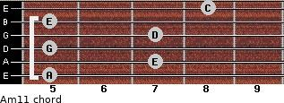 Am11 for guitar on frets 5, 7, 5, 7, 5, 8