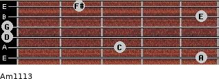 Am11/13 for guitar on frets 5, 3, 0, 0, 5, 2