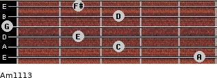 Am11/13 for guitar on frets 5, 3, 2, 0, 3, 2