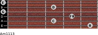 Am11/13 for guitar on frets 5, 3, 4, 0, 3, 0