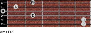 Am11/13 for guitar on frets 5, 5, 2, 0, 1, 2