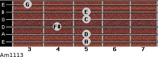 Am11/13 for guitar on frets 5, 5, 4, 5, 5, 3