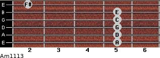 Am11/13 for guitar on frets 5, 5, 5, 5, 5, 2