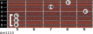Am11/13 for guitar on frets 5, 5, 5, 9, 7, 8