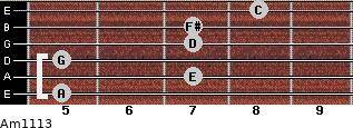 Am11/13 for guitar on frets 5, 7, 5, 7, 7, 8
