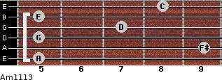 Am11/13 for guitar on frets 5, 9, 5, 7, 5, 8