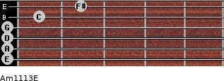 Am11/13/E for guitar on frets 0, 0, 0, 0, 1, 2