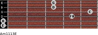 Am11/13/E for guitar on frets 0, 0, 4, 5, 3, 3