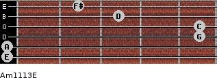 Am11/13/E for guitar on frets 0, 0, 5, 5, 3, 2