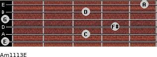 Am11/13/E for guitar on frets 0, 3, 4, 0, 3, 5