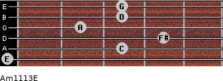 Am11/13/E for guitar on frets 0, 3, 4, 2, 3, 3
