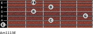 Am11/13/E for guitar on frets 0, 3, 5, 2, 3, 2