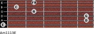 Am11/13/E for guitar on frets 0, 5, 5, 2, 1, 2