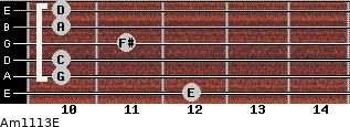 Am11/13/E for guitar on frets 12, 10, 10, 11, 10, 10