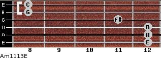 Am11/13/E for guitar on frets 12, 12, 12, 11, 8, 8