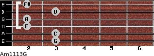 Am11/13/G for guitar on frets 3, 3, 2, 2, 3, 2