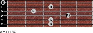 Am11/13/G for guitar on frets 3, 3, 4, 2, 3, 0