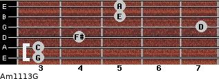 Am11/13/G for guitar on frets 3, 3, 4, 7, 5, 5