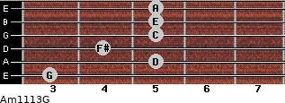 Am11/13/G for guitar on frets 3, 5, 4, 5, 5, 5