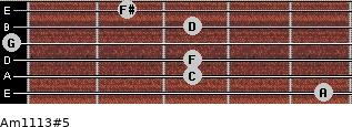 Am11/13#5 for guitar on frets 5, 3, 3, 0, 3, 2