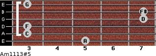 Am11/13#5 for guitar on frets 5, 3, 3, 7, 7, 3