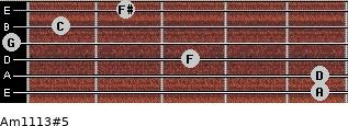 Am11/13#5 for guitar on frets 5, 5, 3, 0, 1, 2
