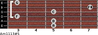 Am11/13#5 for guitar on frets 5, 5, 3, 5, 7, 3