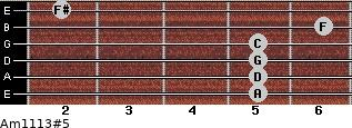 Am11/13#5 for guitar on frets 5, 5, 5, 5, 6, 2