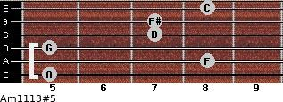 Am11/13#5 for guitar on frets 5, 8, 5, 7, 7, 8