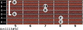 Am11/13#5/C for guitar on frets 8, 8, 5, 7, 7, 5