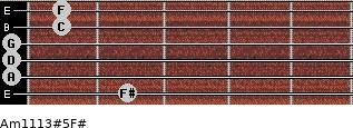 Am11/13#5/F# for guitar on frets 2, 0, 0, 0, 1, 1