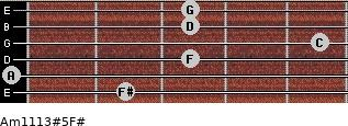 Am11/13#5/F# for guitar on frets 2, 0, 3, 5, 3, 3