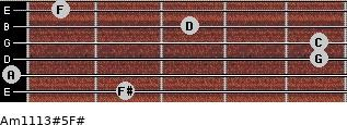 Am11/13#5/F# for guitar on frets 2, 0, 5, 5, 3, 1