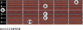Am11/13#5/F# for guitar on frets 2, 3, 3, 0, 3, 5