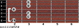Am11/13#5/F# for guitar on frets 2, 3, 3, 2, 3, 3
