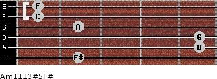 Am11/13#5/F# for guitar on frets 2, 5, 5, 2, 1, 1