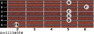 Am11/13#5/F# for guitar on frets 2, 5, 5, 5, 6, 5