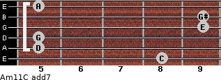 Am11/C add(7) guitar chord