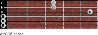 Am11/E for guitar on frets 0, 0, 0, 5, 3, 3