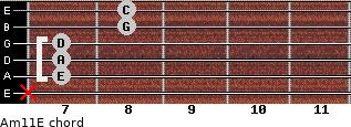 Am11/E for guitar on frets x, 7, 7, 7, 8, 8