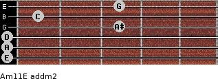 Am11/E add(m2) guitar chord