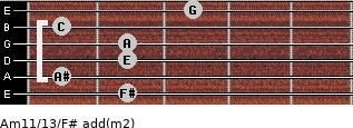 Am11/13/F# add(m2) guitar chord